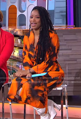 Keke's orange tie dye midi dress on GMA Strahan Sara And Keke