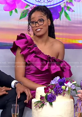 Keke's pink ruffle one-shoulder mini dress on GMA Strahan Sara And Keke