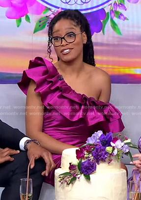Keke's pink ruffle one-shoulder mini dress on GMA Strahan Sara And Keke