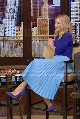 Kelly's blue pleated skirt on Live with Kelly and Ryan