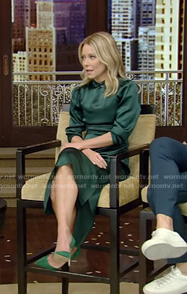 Kelly's green mock neck satin dress on Live with Kelly and Ryan
