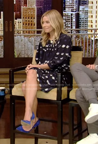Kelly's polka dot mini dress on Live with Kelly and Ryan