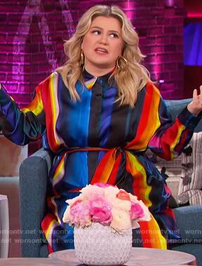 Kelly's multicolored stripe shirtdress on The Kelly Clarkson Show
