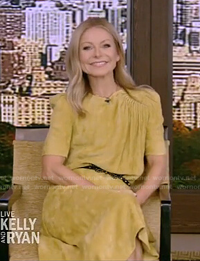 Kelly's yellow corduroy midi dress on Live with Kelly and Ryan