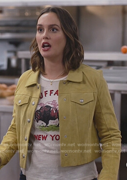 Angie's suede jacket and print tee on Single Parents