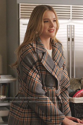 Kirby's plaid wrap coat and yellow shoulder bag on Dynasty