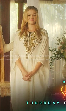 Kirby's white bead embellished caftan on Dynasty