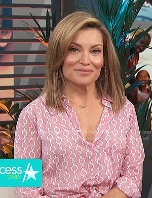 Kit's pink chain print blouse on Access Hollywood