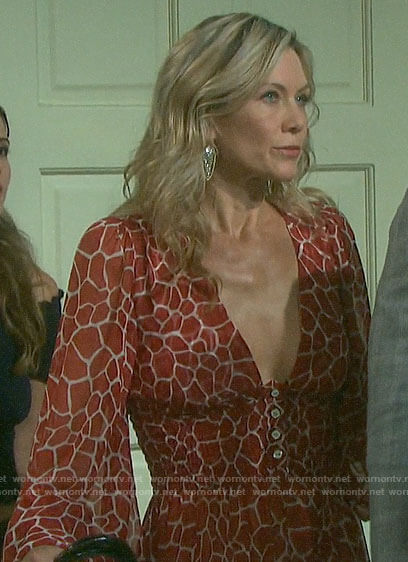 Kristen's red giraffe print dress on Days of our Lives