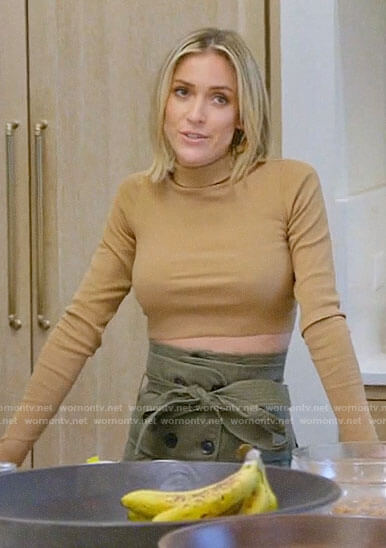 Kristin's tan cropped turtleneck and green cargo skirt on Very Cavallari
