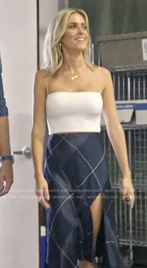 Kristin's navy checked skirt and white top on Very Cavallari