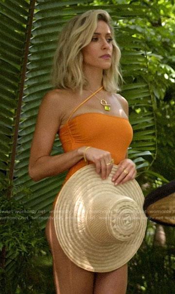 Kristin's orange asymmetric strap swimsuit on Very Cavallari