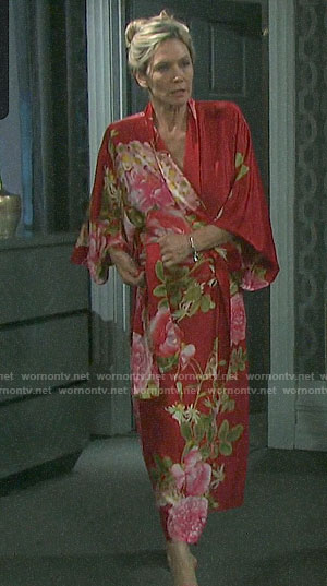 Kristen's red floral robe on Days of our Lives