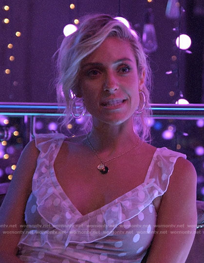 Kristin's white mesh polka dot dress on Very Cavallari