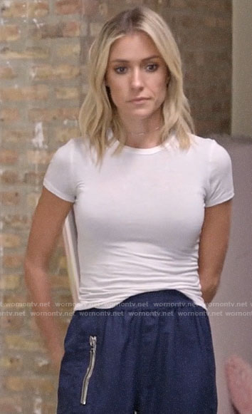 Kristin's white tee and blue track pants on Very Cavallari