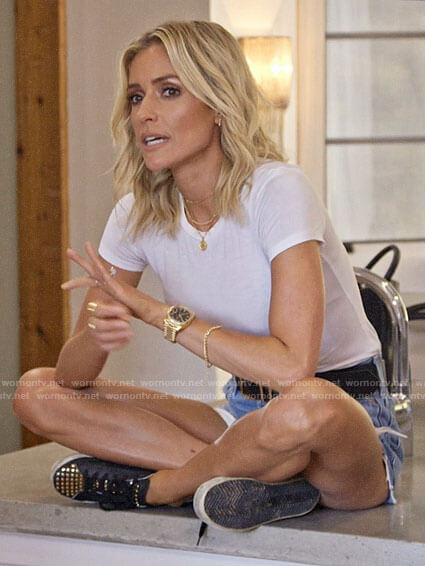 Kristin's white tee and studded sneakers on Very Cavallari