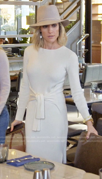 Kristin's white tie waist sweater dress on Very Cavallari