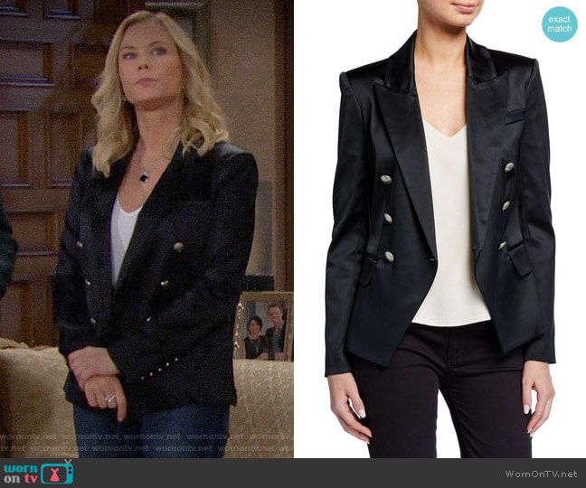 L'Agence Kenzie Double-Breasted Satin Blazer worn by Brooke Logan (Katherine Kelly Lang) on The Bold & the Beautiful