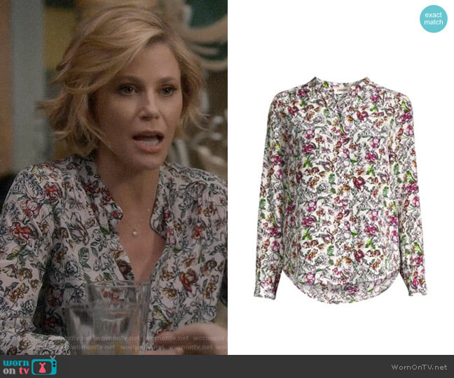 L'Agence Bardot Floral Silk Blouse worn by Claire Dunphy (Julie Bowen) on Modern Family