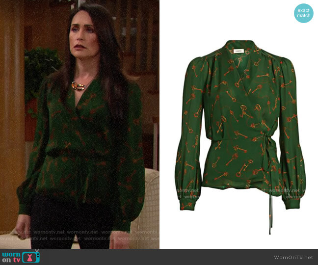 L'Agence Cara Blouse in Pine worn by Quinn Fuller (Rena Sofer) on The Bold & the Beautiful