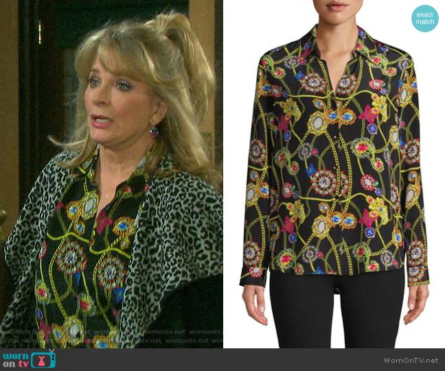 L'Agence Printed Silk Shirt worn by Hattie Adams (Deidre Hall) on Days of our Lives