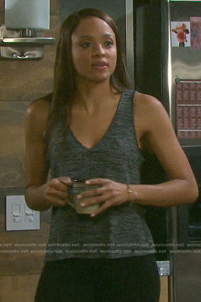 Lani's grey marled v-neck tank top on Days of our Lives