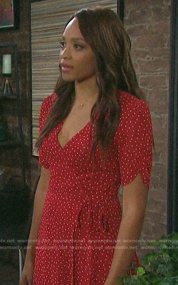 Lani's red polka dot wrap dress on Days of our Lives