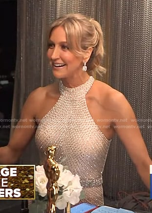 Lara's embellished halter gown at Backstage with the Big Winners on Good Morning America