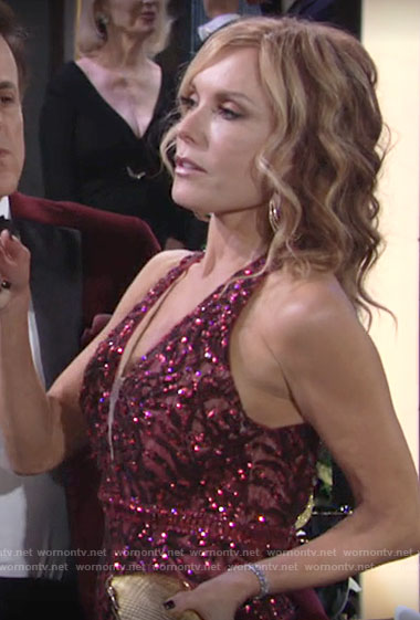 Lauren's red embellished gown on The Young and the Restless