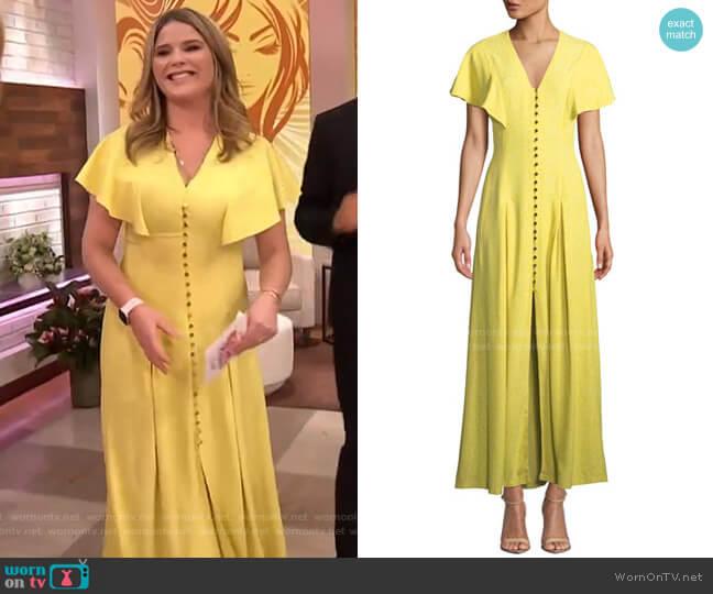 V-Neck Flounce-Sleeve Button-Front Maxi Dress by Lela Rose worn by Jenna Bush Hager  on Today