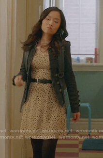 Janet's leopard print dress and black jacket on Kims Convenience