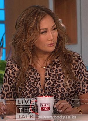 Carrie's leopard print mini dress on The Talk