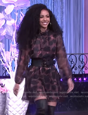 Cheslie Kryst's brown leopard flare dress on The Real