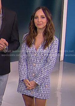 Lilliana's blue tweed mini dress on E! News