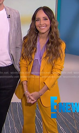 Lilliana's yellow suit and lilac sheer top on E! News