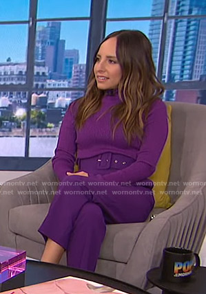 Lilliana's purple turtleneck sweater and belted pants on E! News