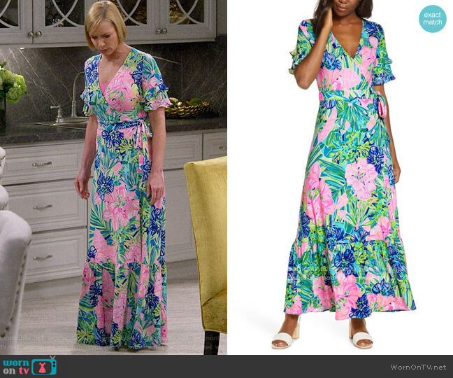 Lilly Pulitzer Emmerson Wrap Maxi Dress in Multi Island Escape worn by Jill Kendall (Jaime Pressly) on Mom
