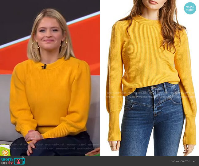 Max Puff-Sleeve Sweater by Lini worn by Sara Haines  on Good Morning America