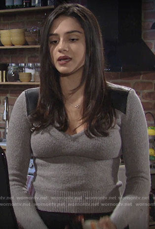 Lola's grey sweater with leather shoulder patches on The Young and the Restless