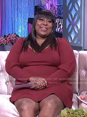 Loni's red puff sleeve dress on The Real