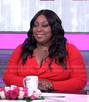 Loni's red wrap dress on The Real