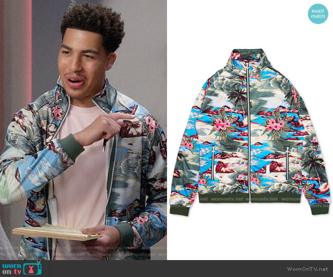 LRG Hiloha Tropical Pattern Track Jacket worn by Andre Johnson Jr (Marcus Scribner) on Blackish