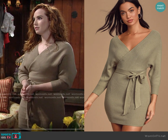 Lulus Modena Sage Green Dolman Sleeve Bodycon Sweater Dress worn by Mariah Copeland (Camryn Grimes) on The Young & the Restless