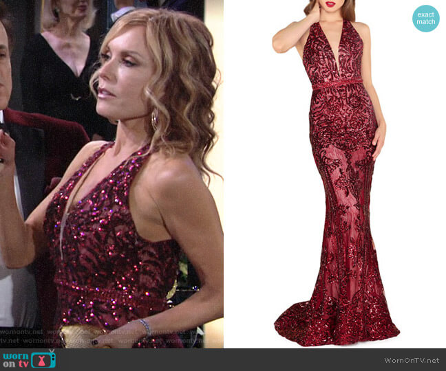 Mac Duggal Sequin Lace Halter Gown worn by Lauren Fenmore (Tracey Bregman) on The Young & the Restless
