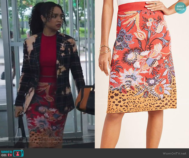 Delphinia Knit Pencil Skirt by Maeve worn by Kat Edison (Aisha Dee) on The Bold Type