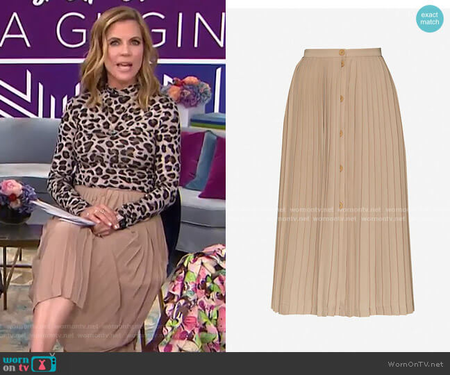 Pleated Skirt with Buttons by Maje worn by Natalie Morales  on Today