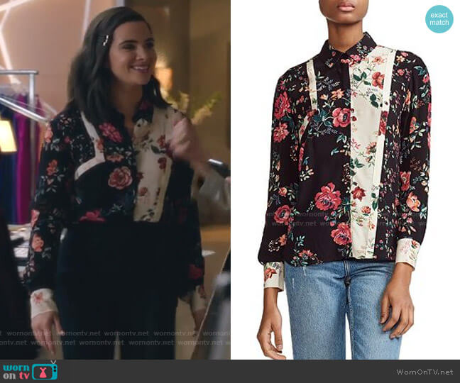 Ciller Patchwork Floral Print Shirt by Maje worn by Jane Sloan (Katie Stevens) on The Bold Type