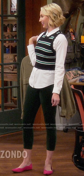Mandy's black and green striped top and pink flats on Last Man Standing