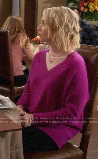 Mandy's magenta pink v-neck sweater on Last Man Standing