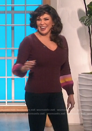 Marie's burgundy stripe sleeve sweater on The Talk